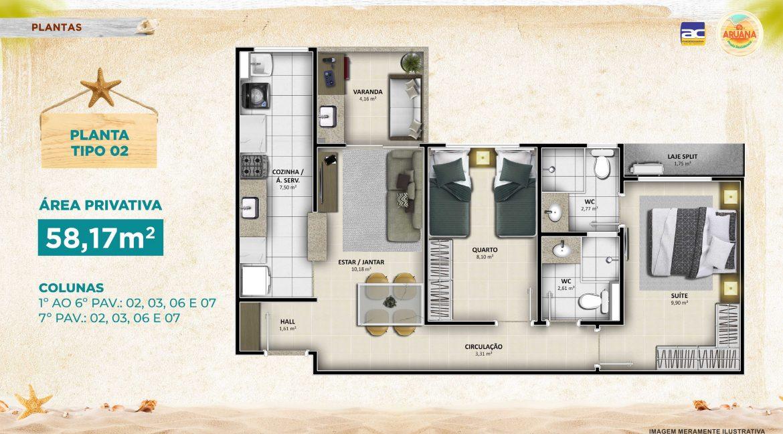 Aruana Praia Residence - Planta 58,17