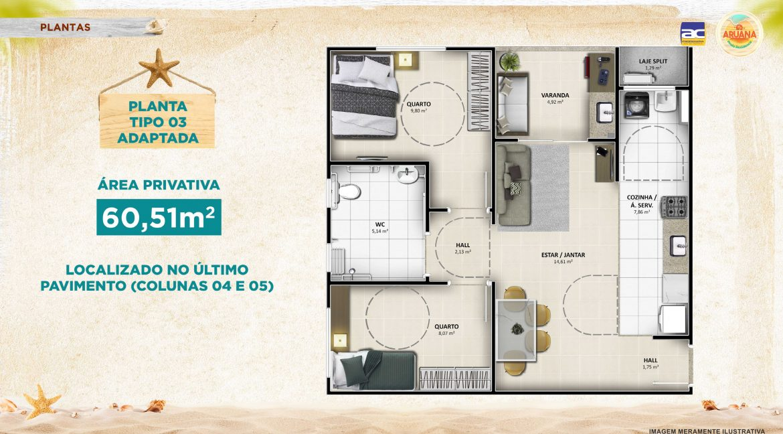 Aruana Praia Residence - Planta 60,51