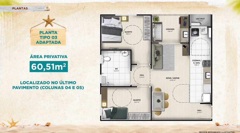 Aruana Praia Residence - Planta 60,51 adaptada